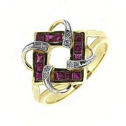 Золотое кольцо в желтом цвете с рубинами и бриллиантами 000115518