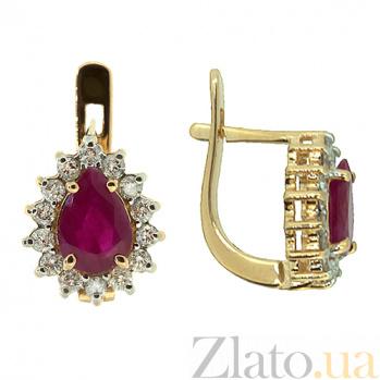 Золотые серьги с бриллиантами и рубинами Фрида ZMX--EDR-5551_K