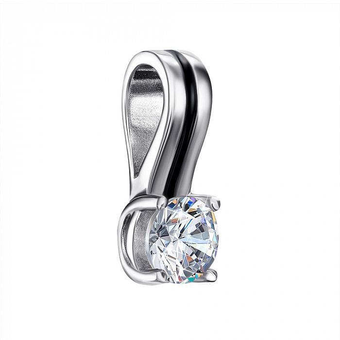 Серебряный кулон Баст с кристаллом Swarovski и черной эмалью 000122163