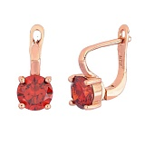 Позолоченные серебряные серьги с красными фианитами Маэра