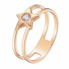 Кольцо в красном золоте Звездочка с фианитом