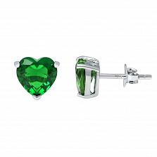 Серебряные пусеты с зеленым цирконием Сердце