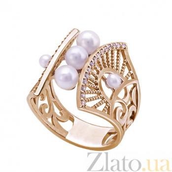 Золотое кольцо с жемчугом Ирида TNG--380059