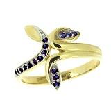 Золотое кольцо в желтом цвете с сапфирами Фелисита