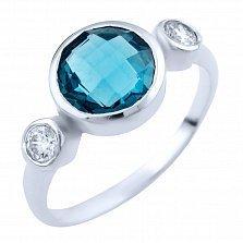 Серебряное кольцо Сумати с синтезированным топазом лондон и фианитами