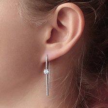 Серебряные серьги-протяжки Акцент с белыми фианитами