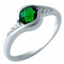 Серебряное кольцо Лозанна с синтезированным изумрудом и фианитами
