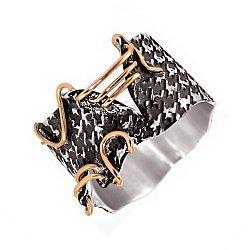 Кольцо из серебра Pull с золотой вставкой и чернением 000091453