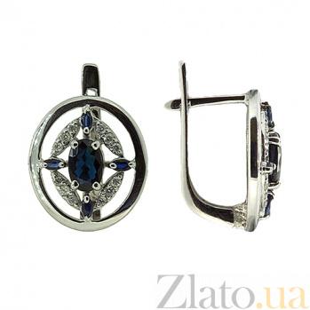 Золотые серьги с бриллиантами и сапфирами Эстер ZMX--EDS-5518w_K