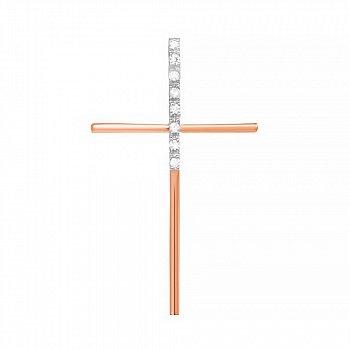 Серебряный крестик с фианитами и позолотой 000025145