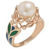 Золотое кольцо Генриетта с жемчугом, фианитами и эмалью