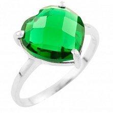 Серебряное кольцо Ангелина с синтезированным изумрудом