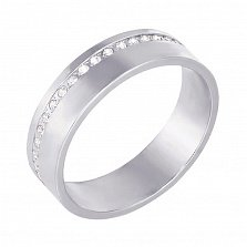 Золотое обручальноекольцо Классический стиль в белом цвете с бриллиантами