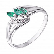 Серебряное кольцо Дебора с изумрудами и бриллиантами