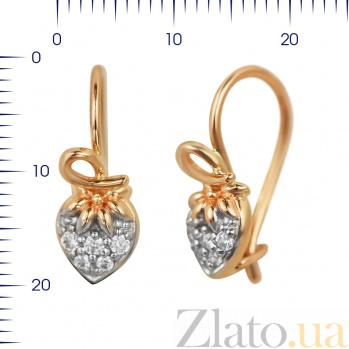 Серьги из красного золота Ягода-клубника с фианитами 000081403