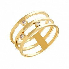 Тройное кольцо из желтого золота с фианитами Джанелл