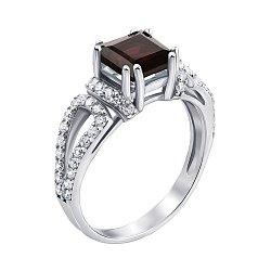 Серебряное кольцо с гранатом и фианитами 000130361