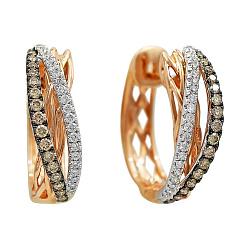 Серьги из красного золота с коньячными и белыми бриллиантами 000081257