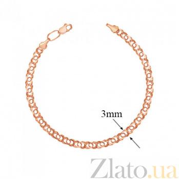 Золотой браслет Арабка (с большей толщиной плетёного жгута), 3мм 000056963