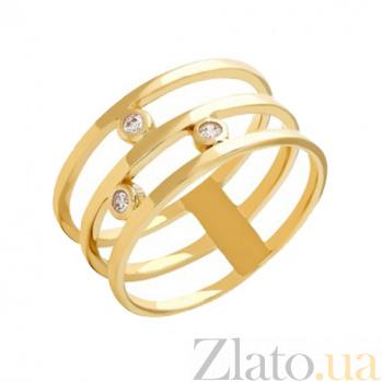 Тройное кольцо из желтого золота с фианитами Джанелл 000022962
