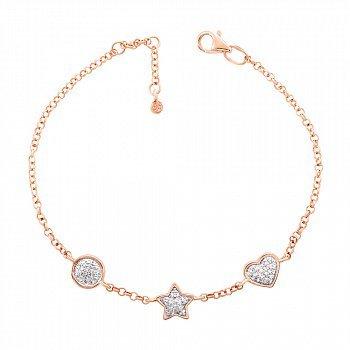 Золотой браслет в комбинированном цвете с бриллиантами 000125345