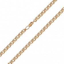 Золотая цепочка Сумерки в красном цвете плетения бисмарк