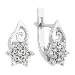 Серебряные серьги Снежный орнамент с узорами и белым цирконием