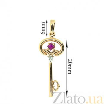 Золотой подвес Ключик к сердцу с рубином и бриллиантами ZMX--PR-6711_K