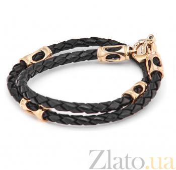 Кожаный шнурок Отрис с золотыми вставками 000042805
