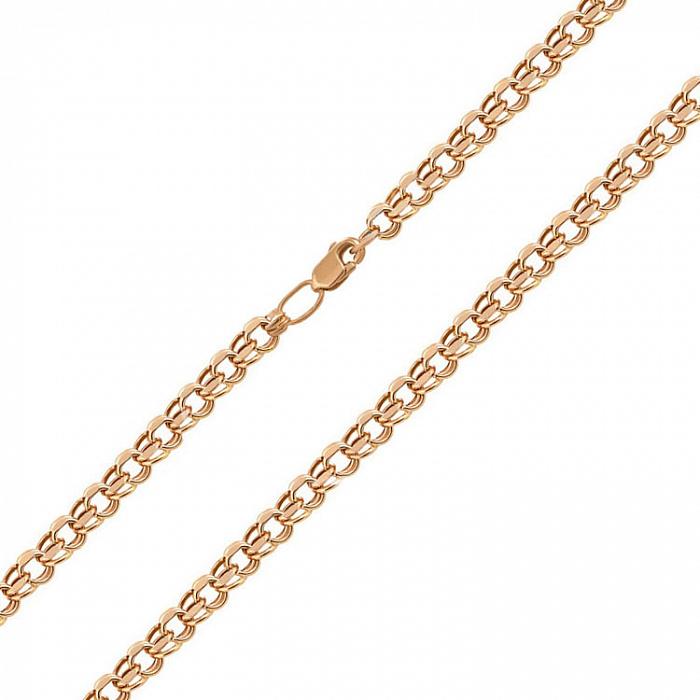 Золотая цепочка Сумерки в красном цвете плетения бисмарк 06018