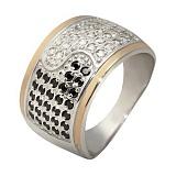Кольцо из серебра Реальность з золотыми вставками и фианитами