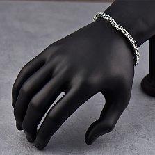 Серебряный браслет Блэк фокс с чернением в плетении лисий хвост, 5*5мм