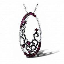 Кулон из белого золота Роуз с бриллиантами и рубинами