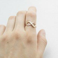 Золотое кольцо Бесконечный карнавал в красном цвете с фианитами