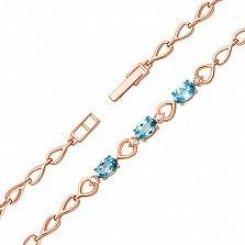 Золотой браслет Эльза в красном цвете со звеньями-сердечками, голубыми топазами и фианитами