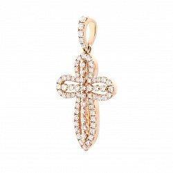 Крестик в красном золоте с бриллиантами 000113204