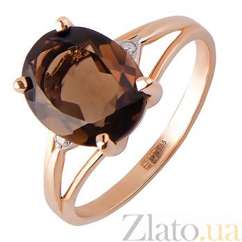 Кольцо из красного золота с раухтопазом и бриллиантами Мишель TRF--1121415н/раух