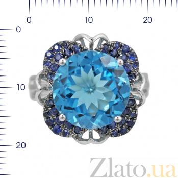 Кольцо из белого золота Кэтлин с синими сапфирами и голубым топазом 000080880