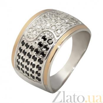 Кольцо из серебра Реальность з золотыми вставками и фианитами BGS--686к