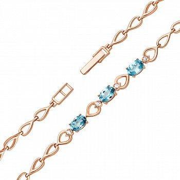 Золотой браслет в красном цвете со звеньями-сердечками, голубыми топазами и фианитами 000125368