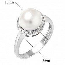 Серебряное кольцо Бритни с жемчугом и фианитами