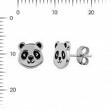 Серебряные серьги-пуссеты Панда с черной эмалью