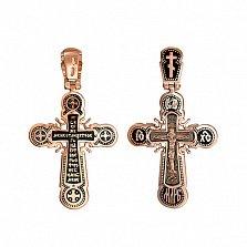Золотой крестик с черной эмалью Небесный посланник