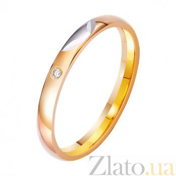 Золотое обручальное кольцо Неувядающая любовь с фианитом TRF--412951