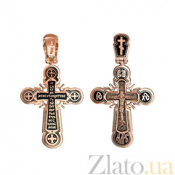 Золотой крестик с черной эмалью Небесный посланник VLT--КЭ3М3658