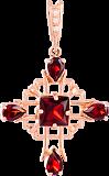 Золотой крестик с гранатами и фианитами Процветание