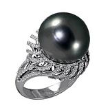 Золотое кольцо с черным жемчугом и бриллиантами Лунная ночь
