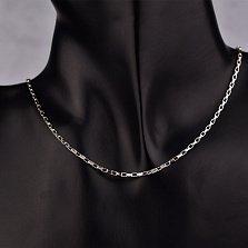 Серебряная родированная цепочка Лея в венецианском плетении