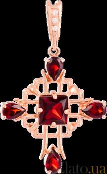 Золотой крестик с гранатами и фианитами Процветание VLN--114-439-3