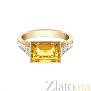 Золотое кольцо с цитрином и бриллиантами Рандеву 000029540